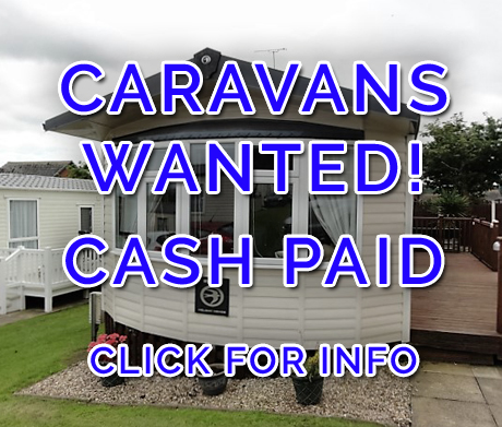 red background with the words caravans wanted cash paid, click for info, written over the top in white